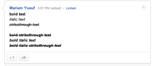 Formatted text in G+