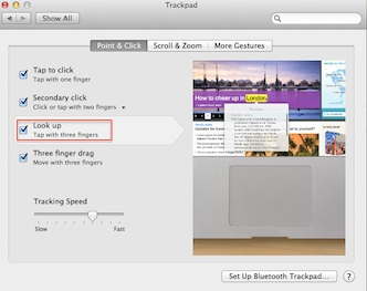 Lookup Gesture-Mountain Lion
