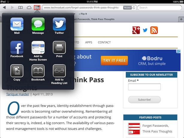 bookmark safari ipad