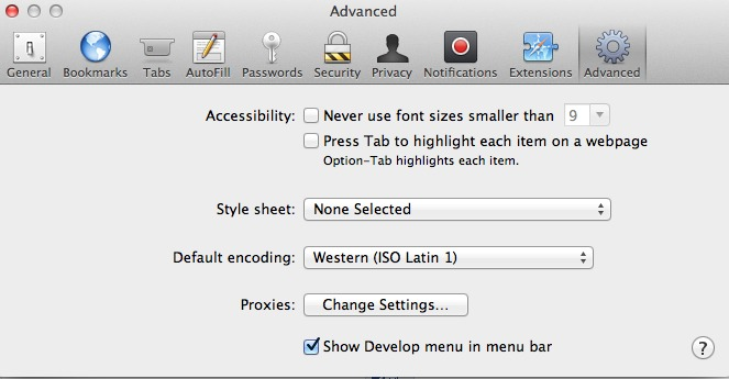 develop menu Safari