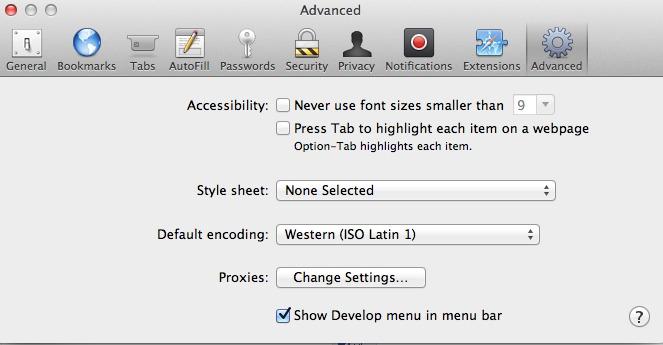 develop menu Safari