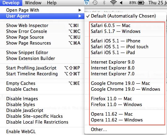 user agent Mac Safari