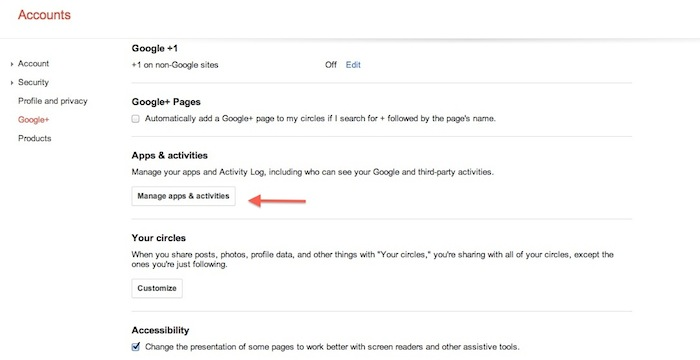 Google+ Manage Apps and Activities
